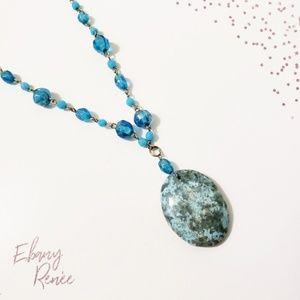 Turquoise Linked Beaded Necklace with Charm